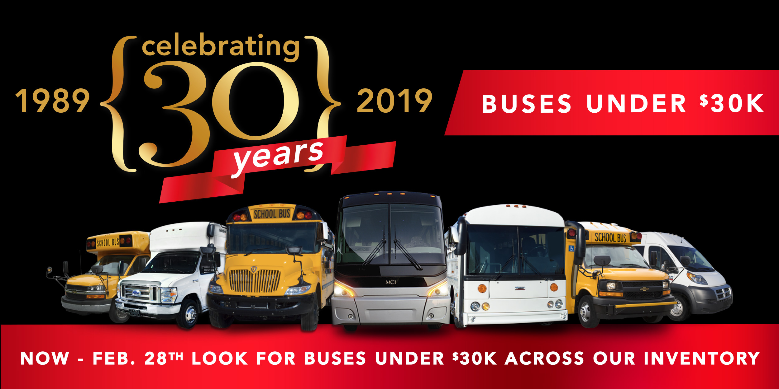 30th Anniversary Sale with Buses under $30K