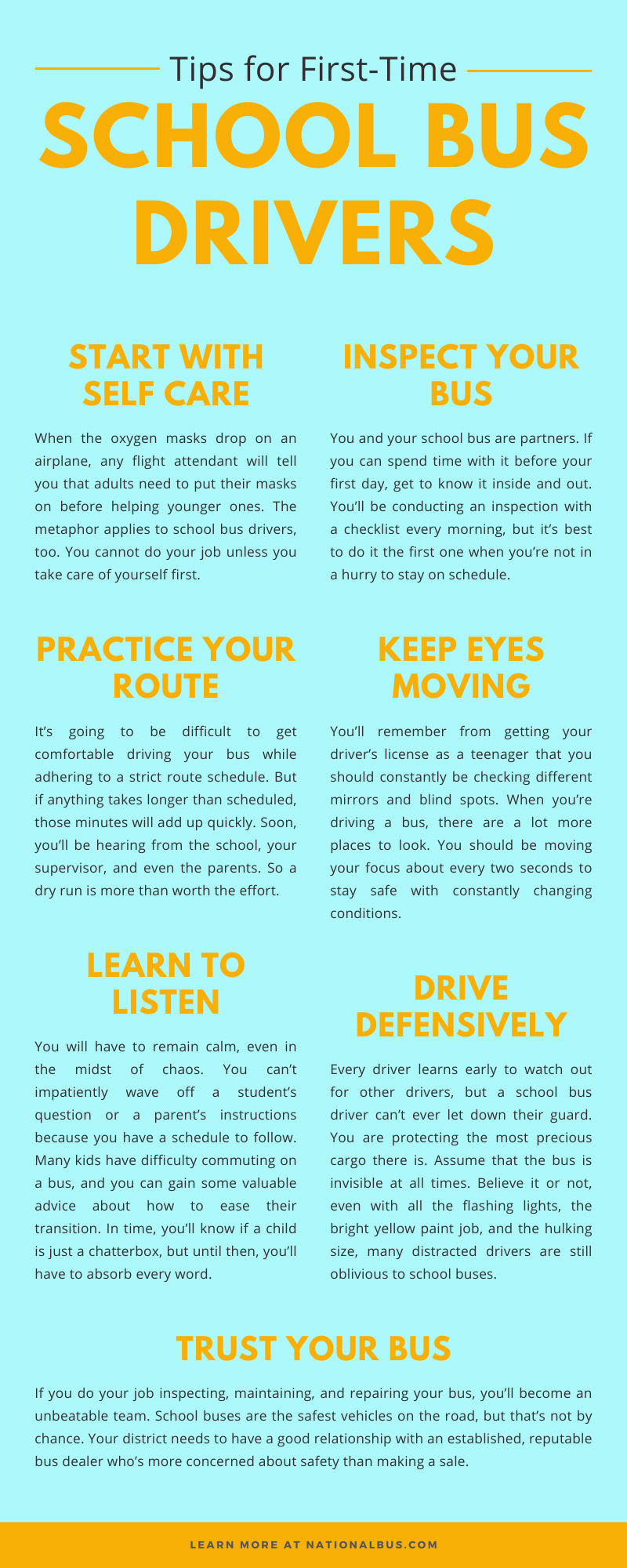 Seven Tips for First-Time School Bus Drivers